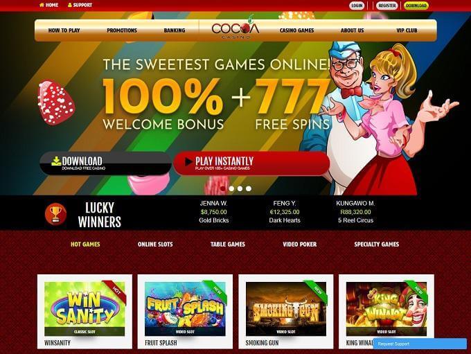 Cocoa casino home screenshot