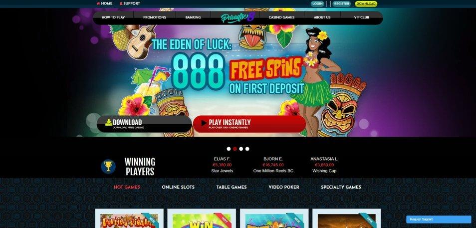 paradise8 homepage screenshot