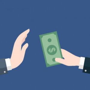 businessman giving money