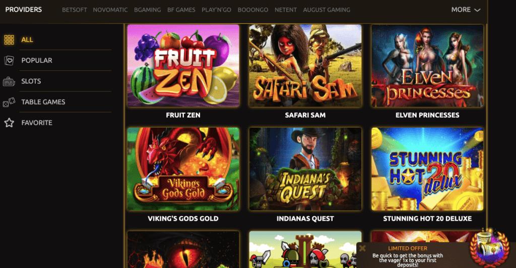 triumph casino games