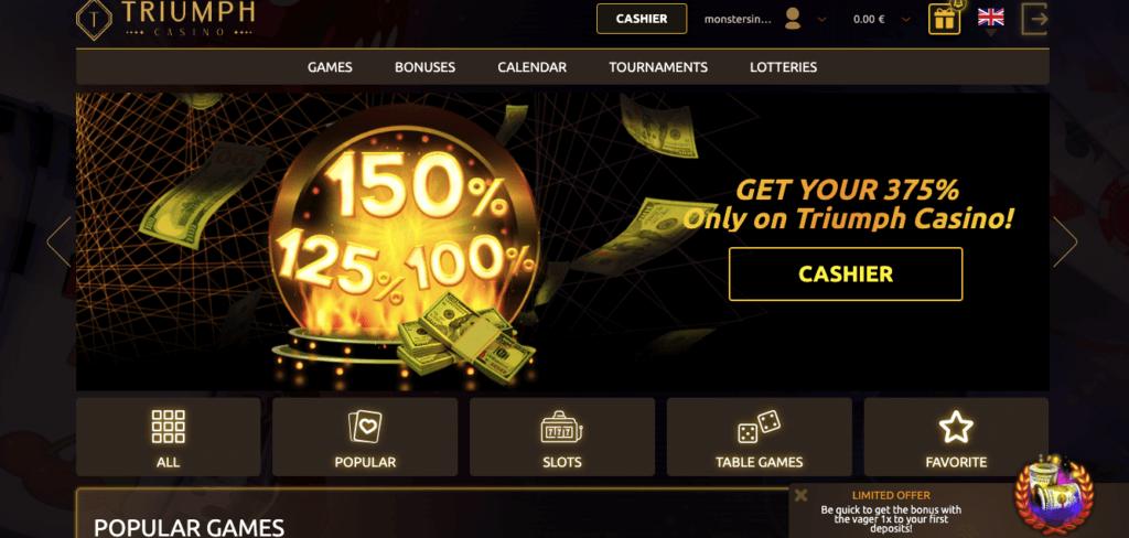 Triumph casino homepage screenshot