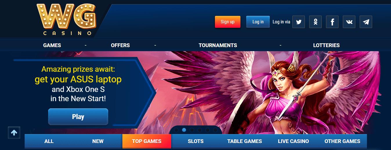 WG casino homepage screenshot