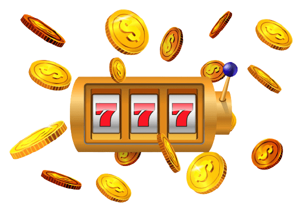 SLot machine and flying coins