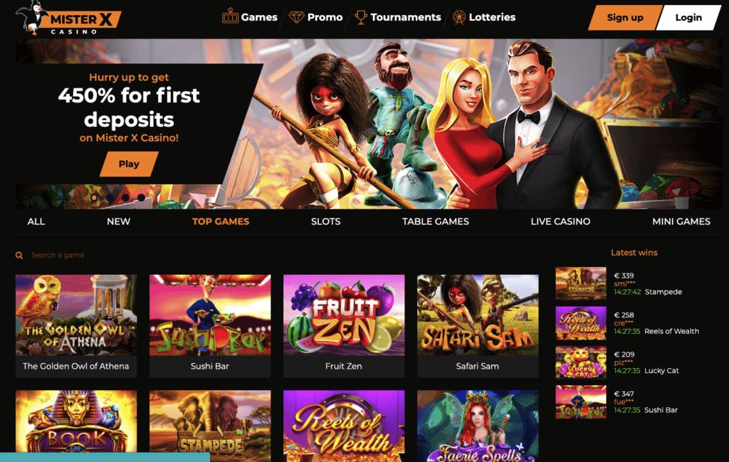 MisterX casino homepage screenshot